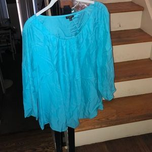 Talbots turquoise blue 100%  percent silk blouse